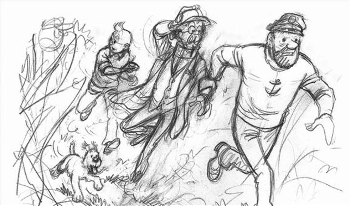'MUSEO HERGÉ' 3 Esbozo de 'Tintín y los pícaros' y, abajo, dibujo para portada de 'Los cigarros del faraón'.
