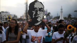 Manifestaciónen recuerdo del arzobispo Romero, el 17 de marzo en San Salvador.
