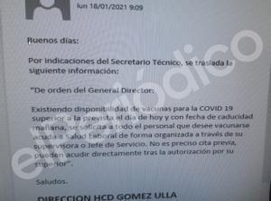 Este correo electrónico de la dirección del Hospital Central de la Defensa desató la carrera para vacunarse entre el personal.