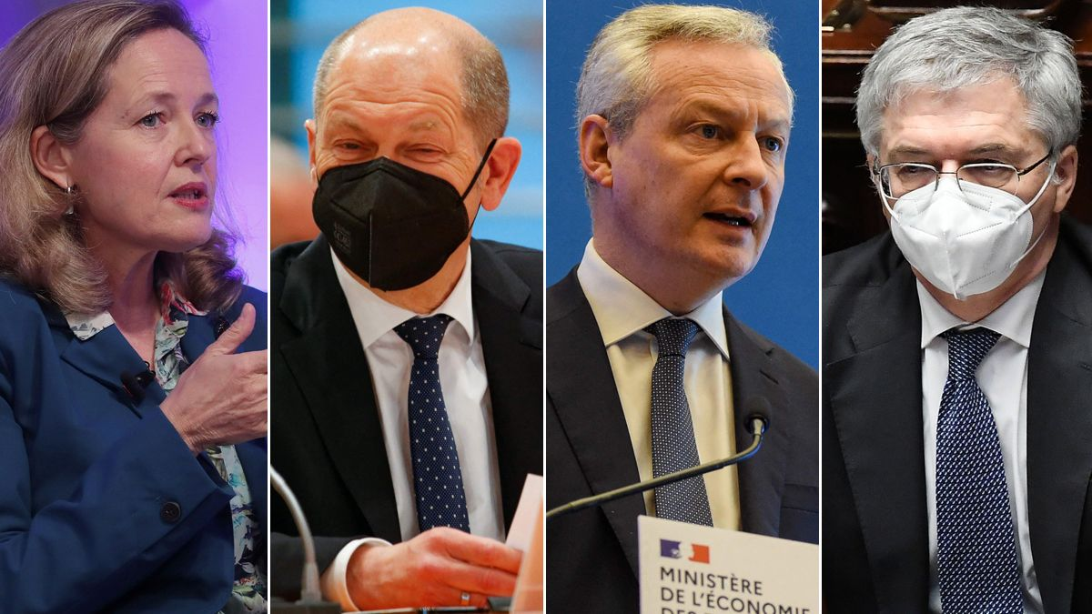 Los grandes de la UE urgen a ejecutar cuanto antes los planes de recuperación. En la foto, Nadia Calviño, Olaf Scholz, Bruno Le Maire y Daniele Franco.
