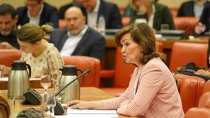 La Vicepresidenta, Carmen Calvo, en la Diputación Permanente del Congreso.