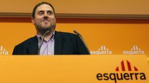 Oriol Junqueras, en la sede de ERC, el 3 de octubre de 2011