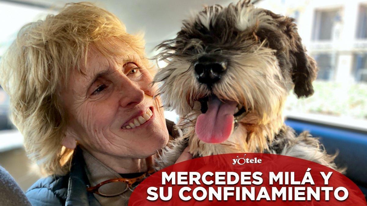 Mercedes Milá y su perro Scott.