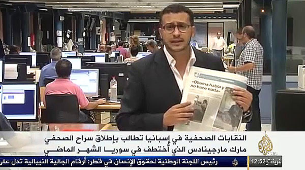 La televisión Al Jazeera informa de Marc Marginedas desde la redacción de el PERIÓDICO.