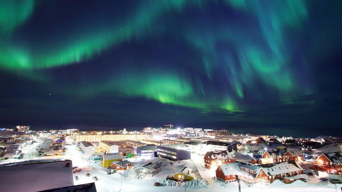 Una aurora boreal observada desde Nuuk, la capital de Groenlandia, en el 2009.