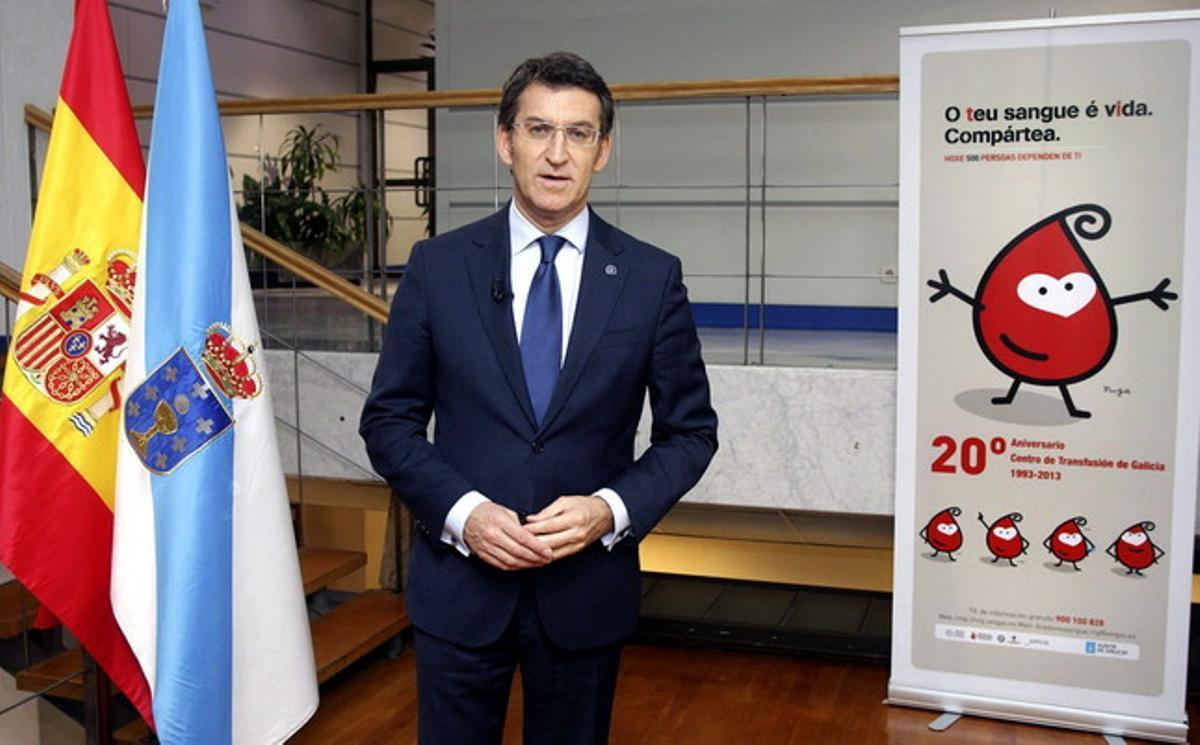 El presidente de la Xunta de Galicia, Alberto Núñez Feijóo, durante el tradicional mensaje institucional de Fin de Año.