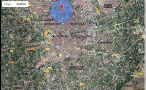 Mapa de localización informática del voto de Murcia capital en las primarias de Ciudadanos para las elecciones autonómicas en aquella comunidad.