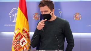 MADRID  23 03 2021 - El portavoz de Mas Pais  Inigo Errejon  en rueda de prensa posterior a la reunion de la Junta de Portavoces celebrada este martes en el Congreso  EFE Kiko Huesca POOL