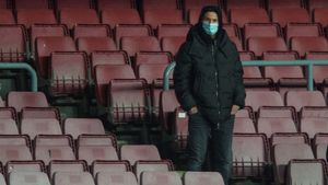 Messi, este martes en la grada del Camp Nou.