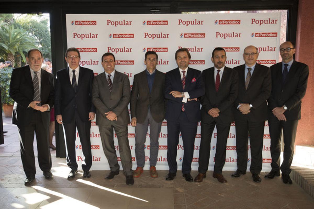 De izquierda a derecha Jose Maria Ureta, Francesc Xavier Subirana, Manel Balfego, Pablo Foncillas, Miguel Angel Luna, Joan Alegre, Alfonso Ruspira y Josep Lluis Busquets.