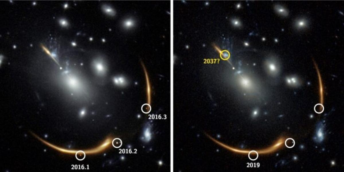 Observan una estrella en explosión en tres lugares diferentes del cielo