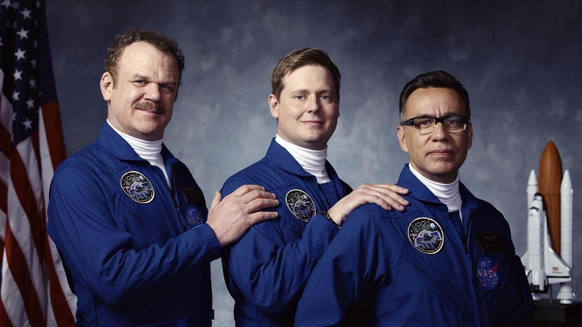 John C. Reilly, Tim Heidecker y Fred Armisen, los ineptos astronautas de'Moonbase 8'.