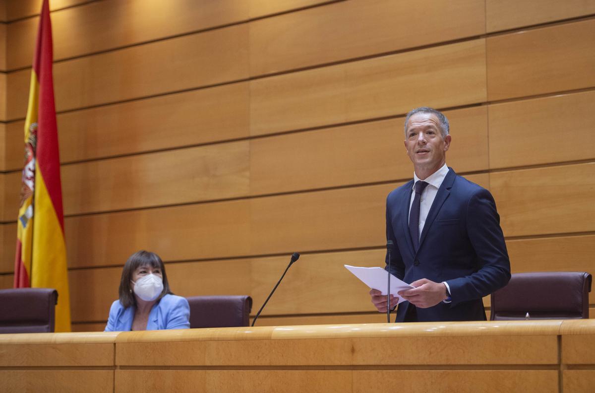 Ander Gil, durante su primera intervención como presidente del Senado.