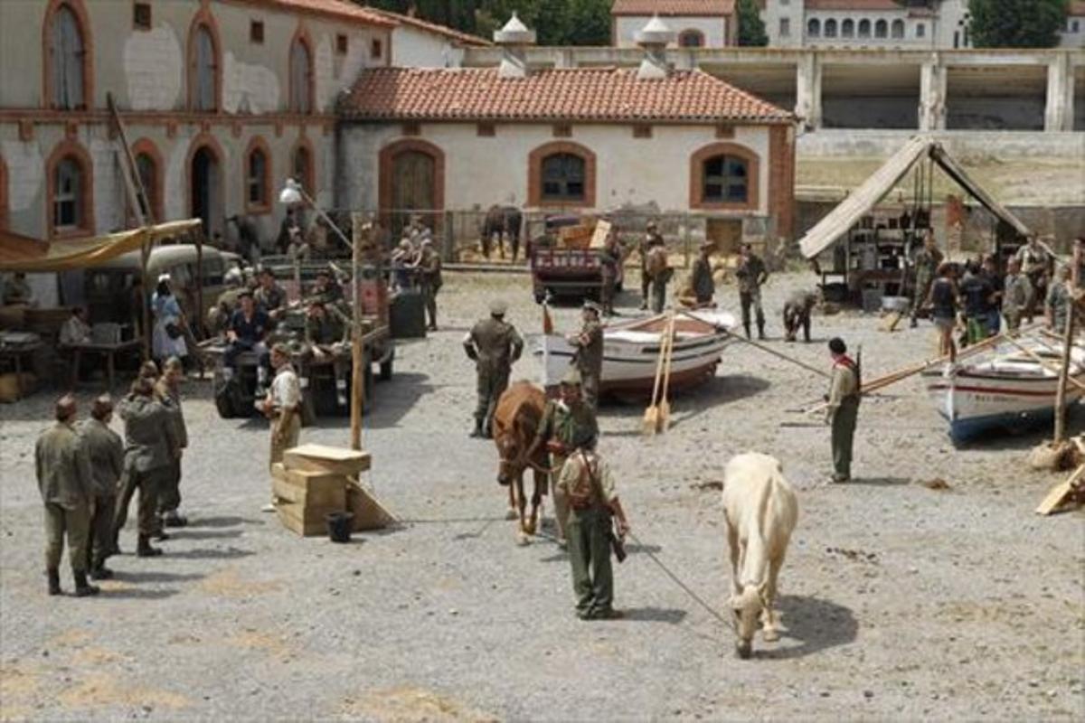 Imagen del rodaje de 'Ebre, del bressol a la batalla', en Torrebonica (Terrassa).
