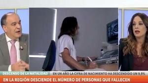 El diputado de Vox en el debate en la televisión Región de Murcia.