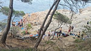 Fiesta ilegal celebrada en la playa de Tamariu.