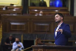 Moción de Censura en el Congreso de los Diputadosde VOXcontra el Gobierno de Coalicion Psoe - Podemos , en la imagenGabriel Rufián.