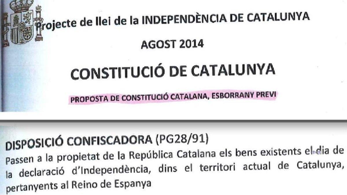 Dos fragmentos del proyecto de Constitución para una república catalana que manejaba el exjuez Santiago Vidal.