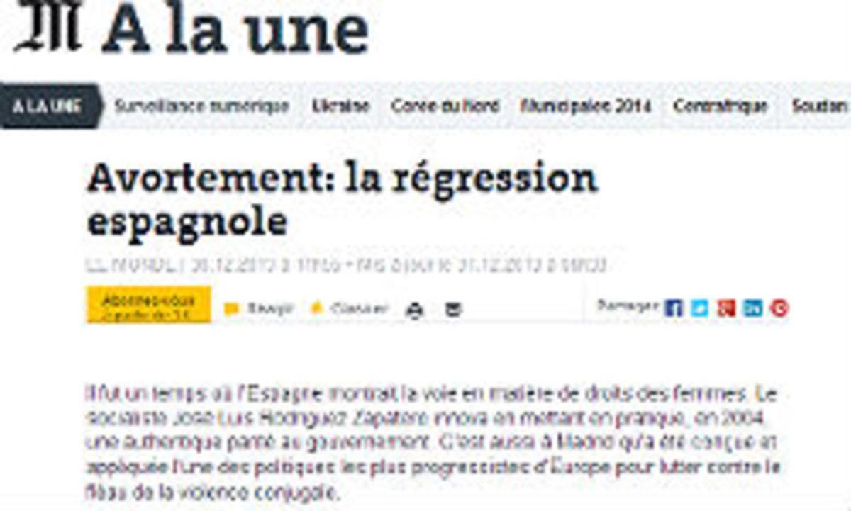 El artículo de 'Le Monde' publicado en la edición del lunes.