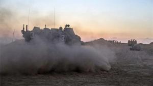 Tanques del Ejército de Israel en lafranja de Gaza.