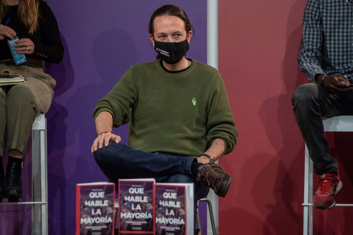 El candidato de Unidas Podemos, Pablo Iglesias, en la presentación de su programa electoral para el 4-M