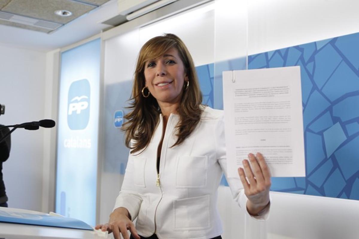 Alicia Sánchez-Camacho, en la rueda de prensa de este martes.