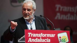 Julio Anguita, en el seu míting d'aquest dimecres a Màlaga.