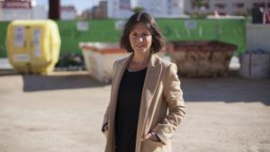 Paula Sánchez, en una obra en Mislata donde gestionan los residuos.