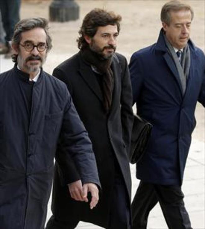 Oleguer Pujol, en el centro de la imagen, a la llegada a la Audiencia Nacional, el pasado 12 de enero.