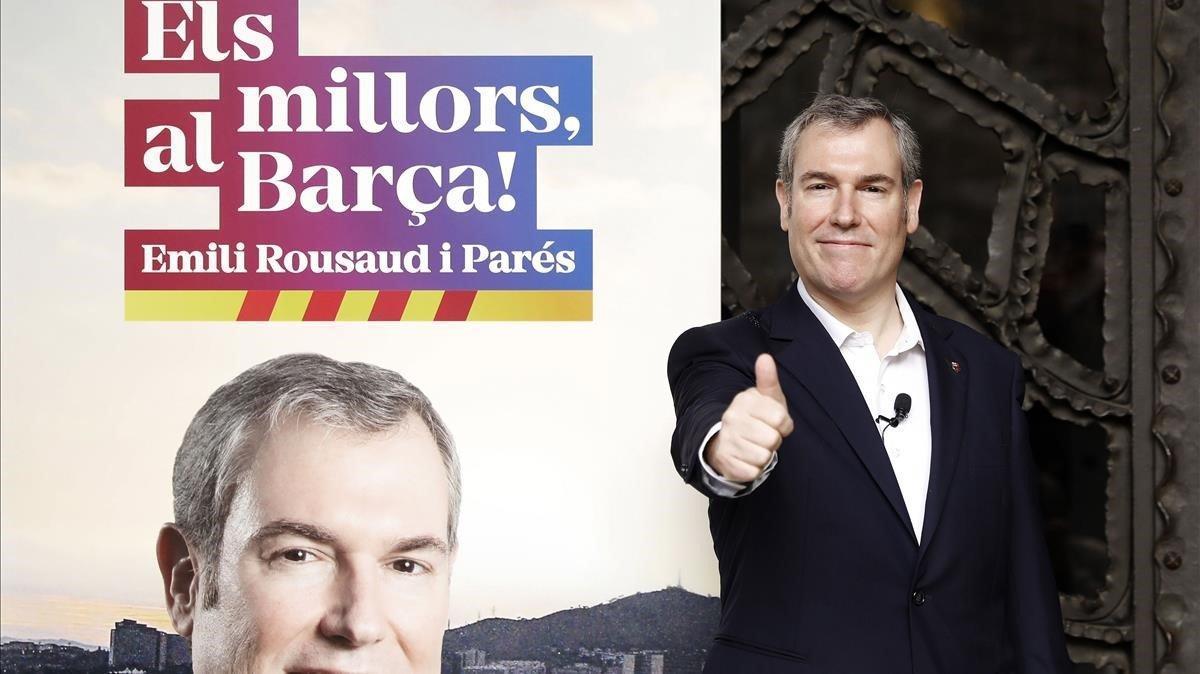 El empresario Emili Rousaud posa antes de la presentación de su precandidatura a las elecciones del FC Barcelona.