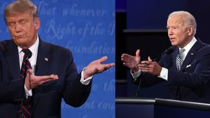 CLEVELAND, OHIO - SEPTEMBER 29: U.S. President Donald Trump participates in the first presidential debate against Democratic presidential nominee Joe Biden at the Health Education Campus of Case Western Reserve University on September 29, 2020 in Cleveland, Ohio. This is the first of three planned debates between the two candidates in the lead up to the election on November 3.   Win McNamee/Getty Images/AFP