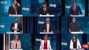 Los nueve candidatos a la Generalitat en las elecciones del 14-F, en el debate de TV-3.