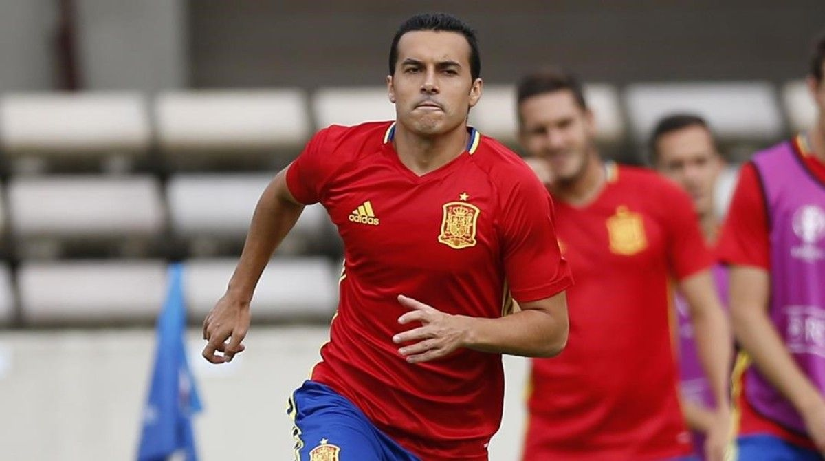 Pedro Rodríguez, en el entrenamiento de la selección del pasado lunes