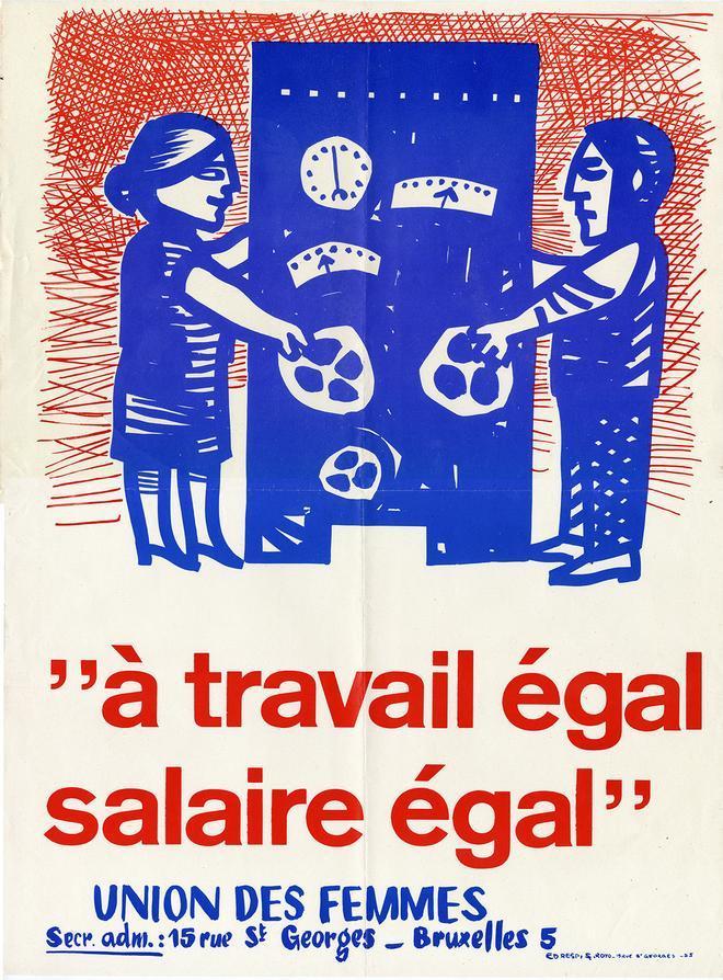 Cartel de la huelga de 1966, en Bélgica, reclamando igualdad salarial.