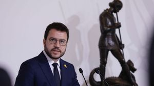 Pere Aragonès durante el acto de nombramiento de su nuevo Govern.
