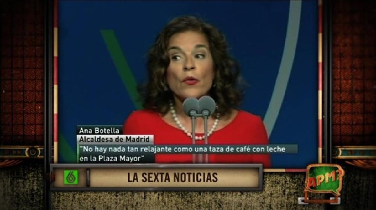 Ana Botella, en un momento del programa de humor 'APM', de TV-3.