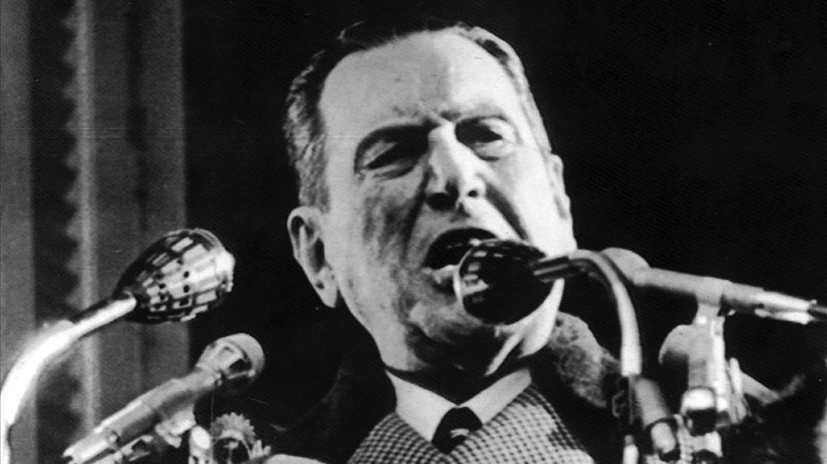 Juan Domingo Perón, durante un discurso como presidente argentino.
