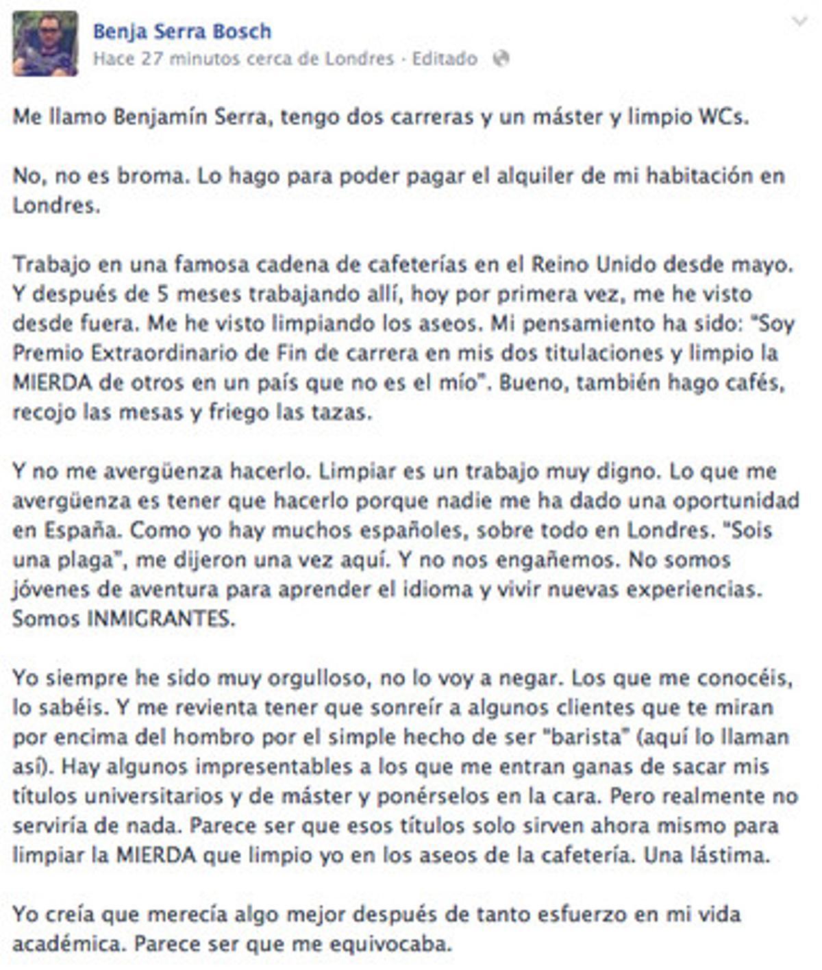 El mensaje de Benjamín Serra Bosch.