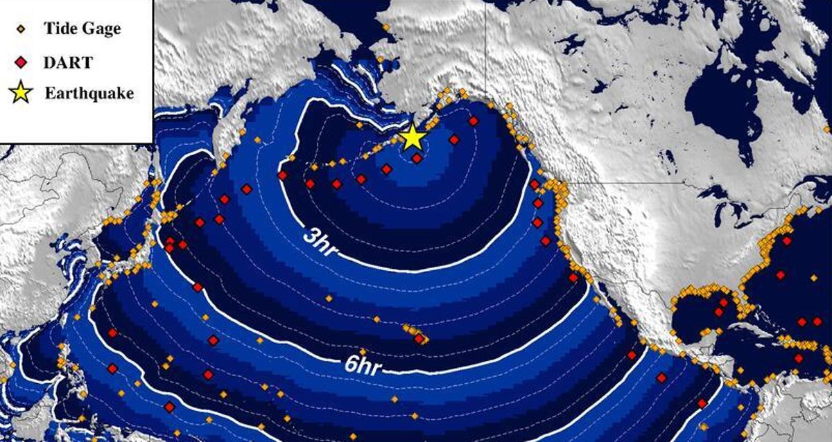 Diagrama que muestra el tiempo que tardaría en avanzar un tsunami generado por el terremoto en Alaska