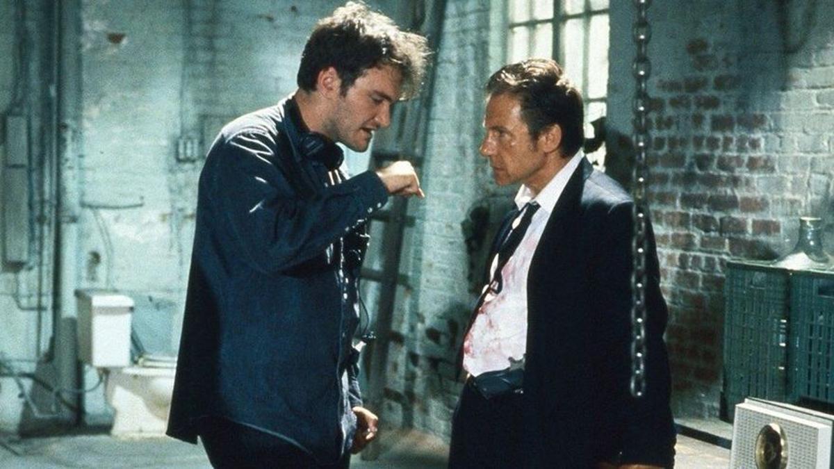 Quentin Tarantino (izquierda) dando instrucciones a Harvey Keitel durante el rodaje.