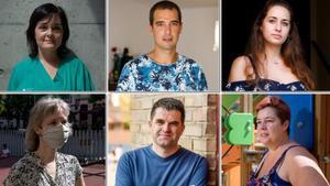 De arriba a abajo y de izquierda a derecha, las madres y padres Lucía Aja, Susan Frekko, César Jiménez, Alexandre Bello, Natalia Giardino y Laura Heredia.