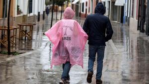 Lluvias intensas en Menorca este lunes.