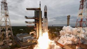 El despegue del cohete que lleva el Chandrayaan-2, el pasado 22 de julio.