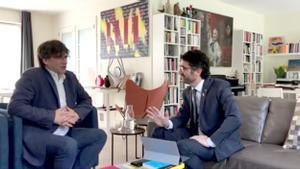 Carles Puigdemont y Jordi Puigneró, reunidos en Waterloo.
