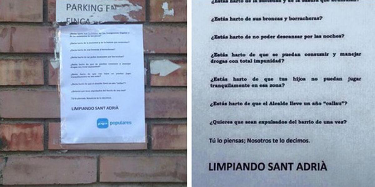 Imagen publicada en Twitter de los carteles elaborados por el PP de Sant Adrià del Besòs sobre la inmigración.
