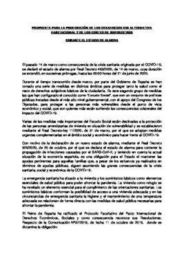 Enmienda de Unidas Podemos, ERC y Bildu a los Presupuestos Generales del Estado para prohibir los desahucios y los cortes de suministros.