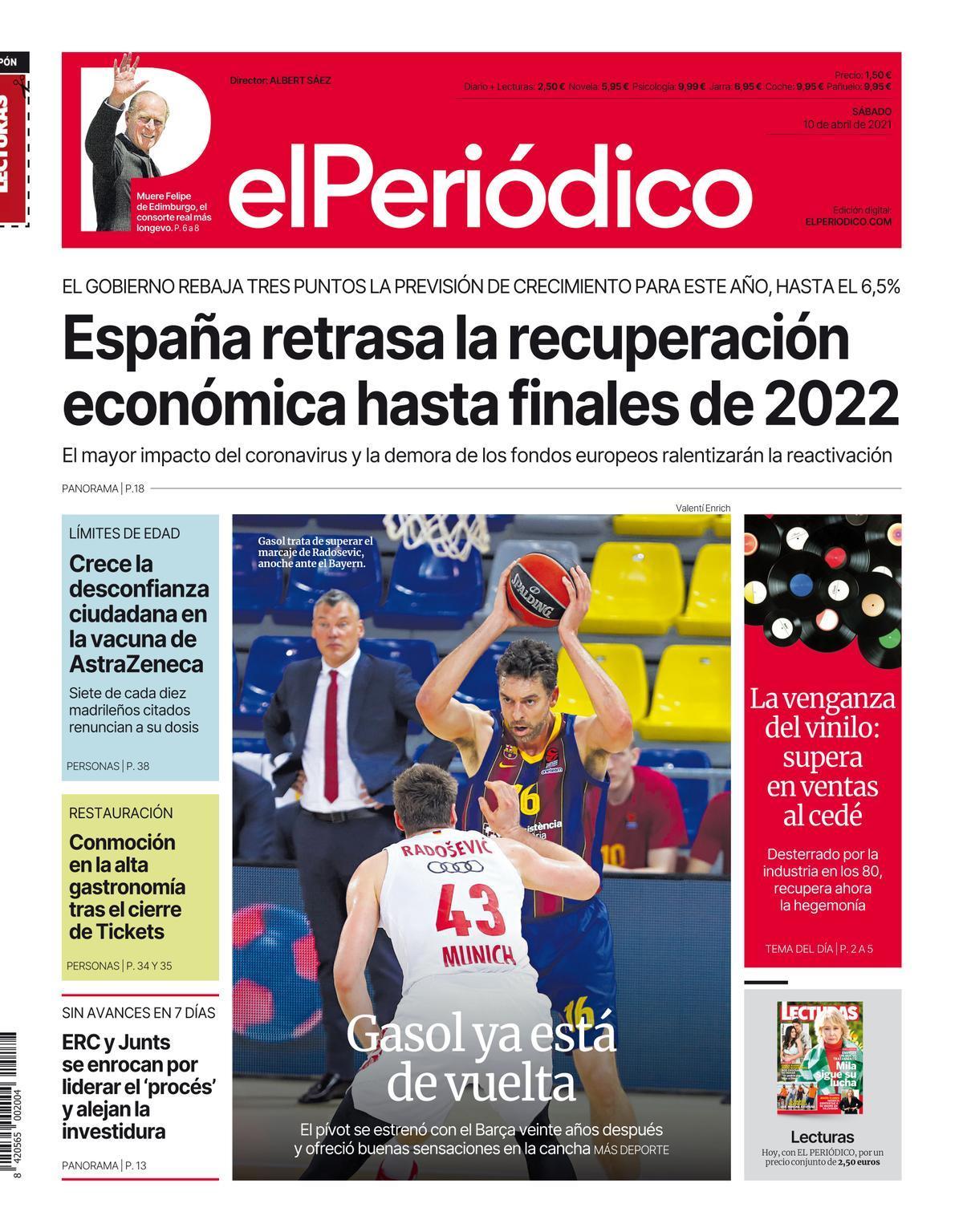 La portada de EL PERIÓDICO del 10 de abril de 2021