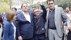 Carme Forcadell, Oriol Junqueras, Josep Maria Jové y Josep Lluís Salvadó, en la Ciutat de la Justicia.