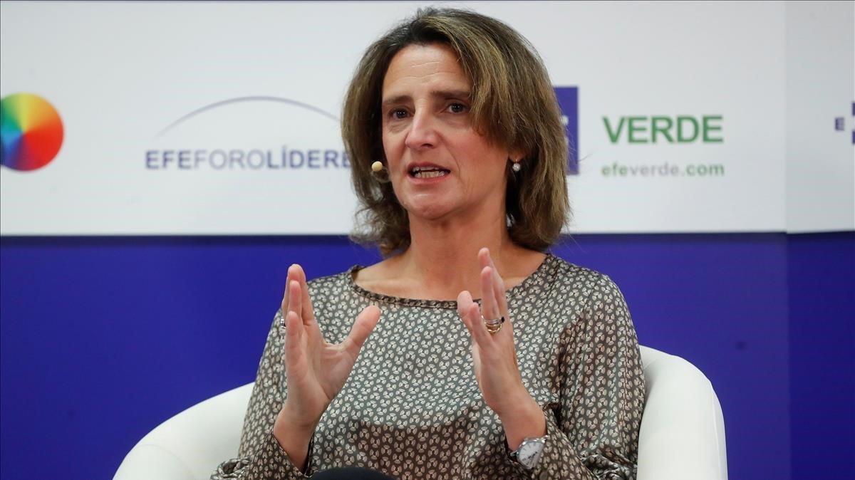 La ministra para la Transicion Ecologica en funcionesTeresa Riberaen el Foro Líderes de la Agencia EFE.