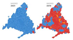 Així ha canviat el mapa electoral de la Comunitat de Madrid en només dos anys